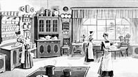 household, kitchen and kitchenware, kitchenmaids cooking, baking and serving, from Neues illustriertes Universal_Kochbuch New illustrated universal co...