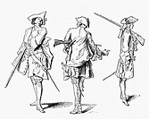 military, France, infantry, types of soldiers, scetch by Antoine Watteau, circa 1700,