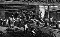 industry, metal, steel, steel wire mill of Webster and Horsfall, Birmingham, England, interior view, production of a transatlantic cable, wood engravi...