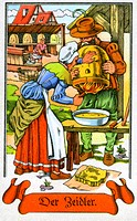 people, professions, honey collector, circa 1575, colour print, cigarette card, Tengelmann, Muehlheim/Ruhr, 1934,