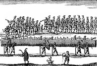 handcraft, guildes, procession of the butchers with a 658 ell long sausage, Nuremberg, 8./9.2.1658, contemporary copper engraving by Alexander Boener,
