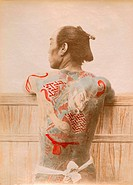 geography / travel, Japan, people, men, man with tattooed back, photo, probably by Kusakabe Kimbei, coloured, late 19th century,