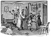 medicine, diseases, cholera, epedemic in Hamburg, 1892, desinfection column allocating food stamps, wood engraving after drawing by G. Arnould, Octobe...