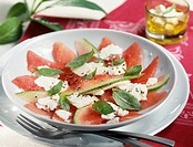 Feta and watermelon carpaccio