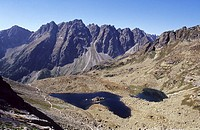 The rugged High Tatras´s peaks in Mengusovska dolina seen from the track leading to the summit of Rysy