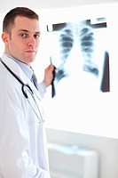 Doctor showing x_ray image to patient