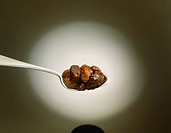 Dates on spoon, close_up
