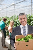 Businessman carrying box of produce in greenhouse
