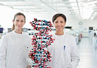 Scientists with molecular model in lab