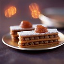 Gavotte and chestnut cream mille_feuille with coffee custard