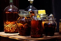 Medicinal Mixtures in Glass Bottles