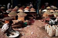 Spices for sale at a market in Omdurman, Khartoum, Sudan.