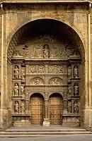 An ornate dorrway of Santo Thomas church in Haro, Spain.