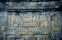 Bas_Relief Sculpture of Queen Maya Going to Her Pleasure Garden in Lumbina from Borobudur Buddhist Temple