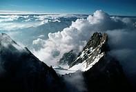 Glaciers on Mont Blanc Peaks