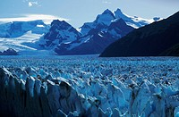 A glacier dominates the landscape of Patagonia, Argentina.