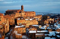 Buildings stand in the medieval town of Montepulciano in Tuscany, Italy.