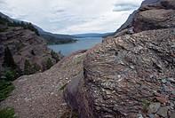 Shale Boulders On Lakeshore Cliff