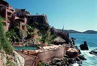 Hotel on Rocky Ocean Shore, Mexico