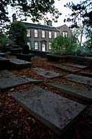 The parsonage occupied by the Bronte family, and its adjoining cemetery. The Bronte family are buried in the town church.