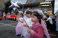 Little Girls Watching Morris Dancing