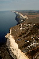 High chalk cliffs known as Les Falaises the cliffs line miles of the Normandy coast of France.