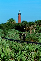The Ponce de Leon Inlet Lighthouse stands in Lighthouse Point State Park, Daytona Beach, Florida, USA.