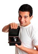Man or salesman advertising a wristwatch