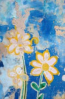 vintage graffiti painted flowers grunge background