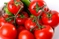 Red tomatoes and green peperoni