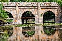 Athpula Eight Piers Stone Bridge Reflection Lodi Gardens New Delhi India 17th Century Bridge