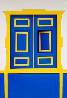 Blue Window with Yellow Frame