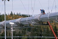 A worker stands on top of a section of the Alaska Oil Pipeline as it crosses the Tenana River.