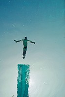 Underwater View of Diver Jumping