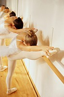 Young Ballerinas Stretching