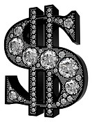 3D Dollar symbol incrusted with diamonds isolated