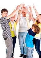 Smiling caucasian american family enjoying, indoors