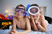 Children on Bed in Snorkeling Gear