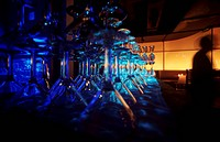 Martini glasses stacked on bar