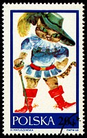 Drawing Puss in Boots on post stamp
