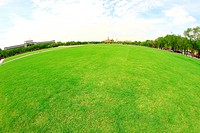 Green pasture and bright blue sky with lens Fish eye