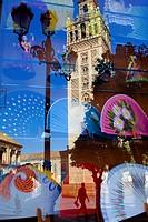 Giralda reflected in a shopwindow,Sevilla,Andalucía,Spain