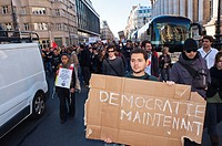 Paris, France, Occupy France, Indignants, Demonstration, French Young People Marching with Signs Protesting Against Corporate Greed and Government Ine...