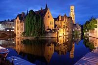 Rozenhoedkaai with Belfry at night, Bruges, West Flanders, Belgium