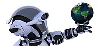 3D render of a robot inspecting a globe