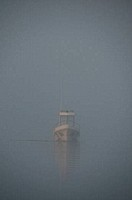Mexico, Baja California Sur, Puerto Lopez Mateos, morning fog, boat in gray whale visiting area