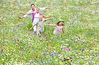 Family running with arms outstretched in wildflower field