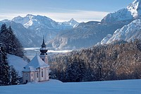 Europe, Germany, Bavaria, Upper Bavaria, Berchtesgaden land, Berchtesgaden, Mary Gern, Watzmann, winter, snow, cold, sky, blue, Alps, mountains, cliff...