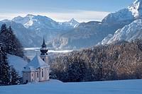Europe, Germany, Bavaria, Upper Bavaria, Berchtesgaden land, Berchtesgaden, Mary Gern, Watzmann, winter, snow, cold, sky, blue, Alps, mountains, cliff...