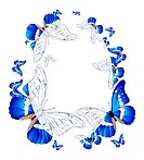 Vector illustration of oval frame of blue butterflies